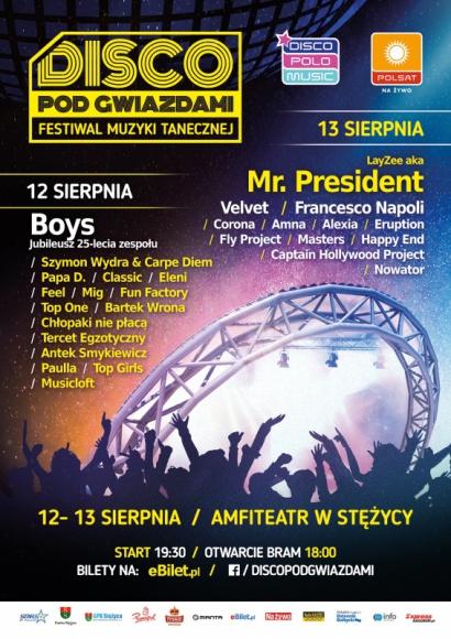 """""""Disco pod gwiazdami"""" już 12-13 sierpnia w Stężycy k. Kartuz! Muzyka, LIFESTYLE - Jeden z najlepszych w Polsce festiwali muzyki tanecznej """"Disco pod gwiazdami"""" odbędzie się w tym roku w dniach 12-13 sierpnia w Stężycy k. Kartuz. Dla roztańczonej publiczności zagrają takie gwiazdy, jak Mr. President, Feel, MiG, Francesco Napoli, Paulla i wielu innych."""